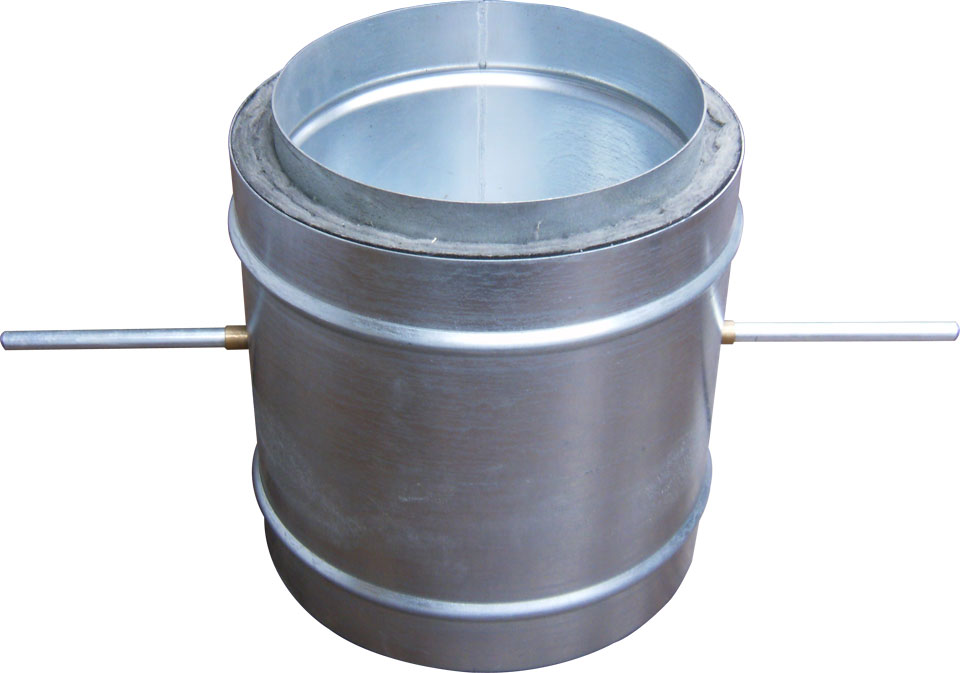 Round single blade dual wall insulated volume control damper